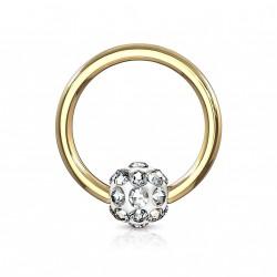 Piercing anneau doré 8 x 1,2mm avec boule en crystal blanc Haz