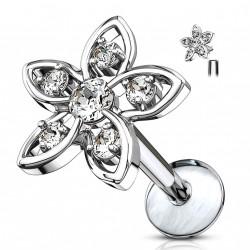 Piercing labret 6mm fleur avec pétales de zirconiums blanc Jag LAB159