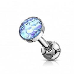 Piercing Tragus Hélix avec des reflets d'écailles bleu Hazy TRA117
