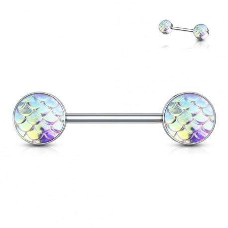 Piercing téton 14mm aux reflets d'écailles aurore boréale Fyx TET106