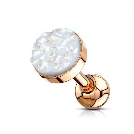 Piercing Tragus Hélix or rose avec bijou scintillant blanc Was TRA119