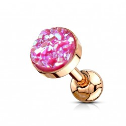 Piercing Tragus Hélix or rose avec bijou scintillant Haz TRA119