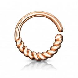 Piercing anneau or rose septum style torsadé pour le nez Gak NEZ159