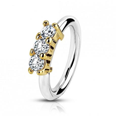 Piercing anneau doré, oreille, nez avec trois zirconiums Kiko HEL069