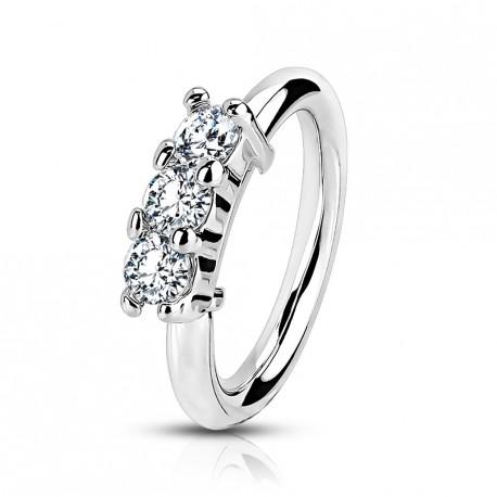 Piercing anneau, oreille, nez avec trois zirconiums Xaf HEL069