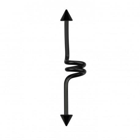 Piercing industriel ressort 38mm noir avec pointes Xuko IND130