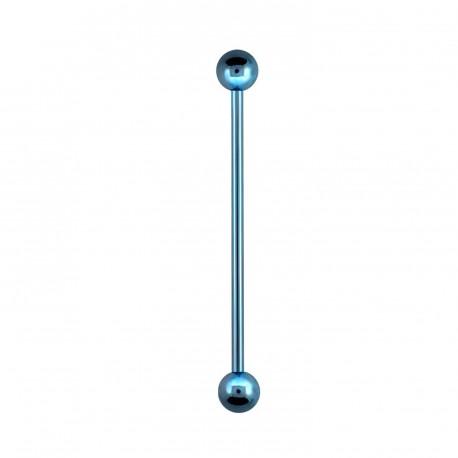 Piercing industriel 32mm bleu clair avec boules Pyol IND011