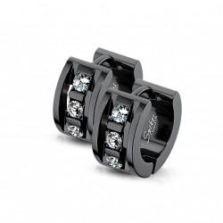 Boucle anneau noir avec trois zirconiums blanc Cefy ANN031