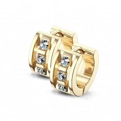 Boucle anneau doré avec trois zirconiums blanc Cadaz ANN031
