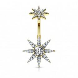 Piercing nombril doré avec une étoile en zirconium Basy