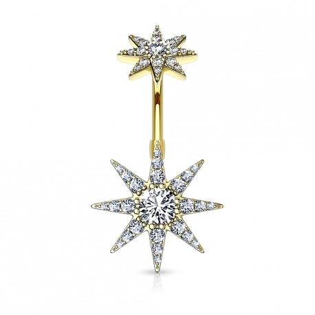 Piercing nombril doré avec une étoile en zirconium Basy NOM160
