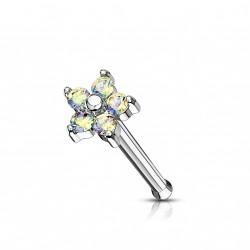 Piercing nez fleur avec pétales en zirconium aurore boréale Wag NEZ158