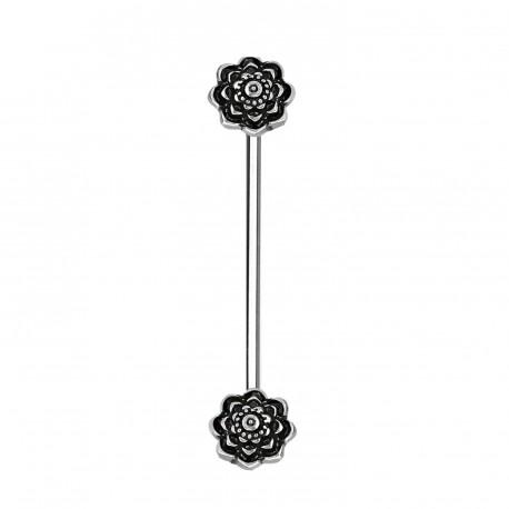 Piercing industriel de 38mm avec deux roses noire Segux IND132