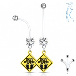 Piercing nombril grossesse baby on board blanc Fasok NOM068