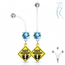 Piercing nombril grossesse baby on board bleu Gady NOM068