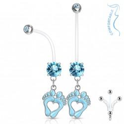 Piercing nombril grossesse avec pieds et zirconium bleu Mady