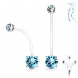 Piercing nombril grossesse avec un zirconium bleu Cagok NOM150