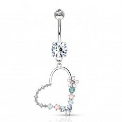 Piercing nombril coeur en opaline et fleur Kady NOM216