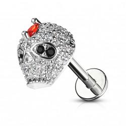 Piercing labret 8mm avec une tête de mort en zirconiums Badux LAB163