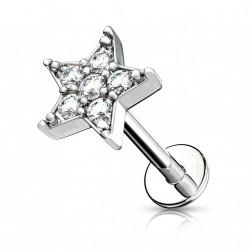 Piercing labret 8mm avec une étoile ornée de zirconiums Saqy LAB166