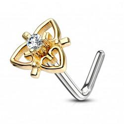 Piercing nez coudé doré en forme de coeur en filigrane Hasi NEZ161