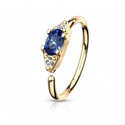 Piercing anneau doré 8 x 0,8mm avec un zirconium bleu Nady NEZ162