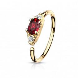 Piercing anneau doré 8 x 0,8mm avec un zirconium rouge Nyn NEZ162
