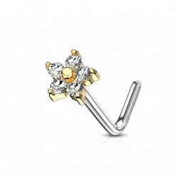 Piercing doré nez fleur avec les pétales en zirconium Kolk NEZ146