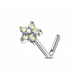 Piercing nez fleur avec les pétales en zirconium aurore boréale Gax NEZ146