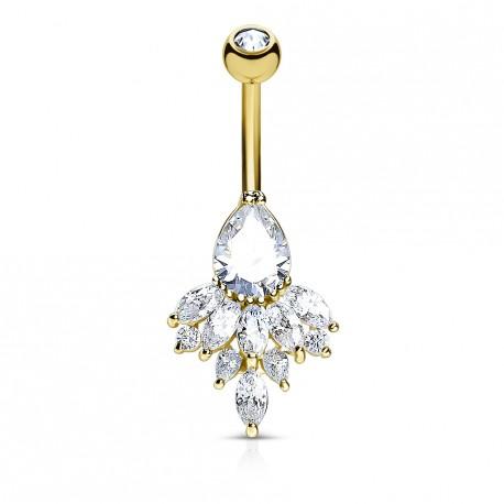 Piercing nombril doré en forme de larme en zirconium blanc Zyki NOM156