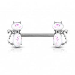 Piercing téton 14mm avec deux chats blanc en opaline Tagex TET032