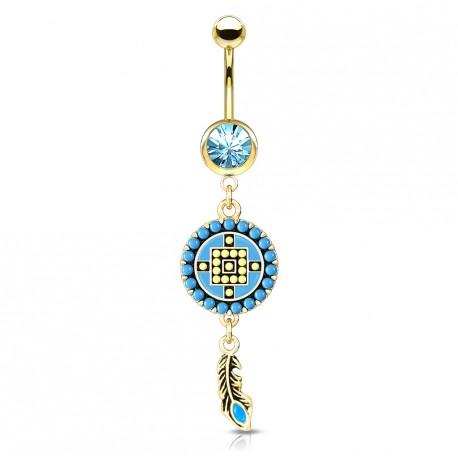 Piercing nombril doré aztèque bleu avec une plume Lasy NOM267