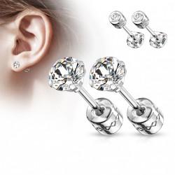Puces d'oreilles 5mm avec un irconium blanc Zyhi PUC021