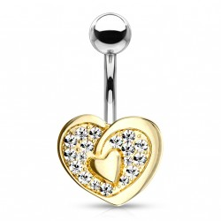 Piercing nombril double coeur doré en zirconium Wady NOM300
