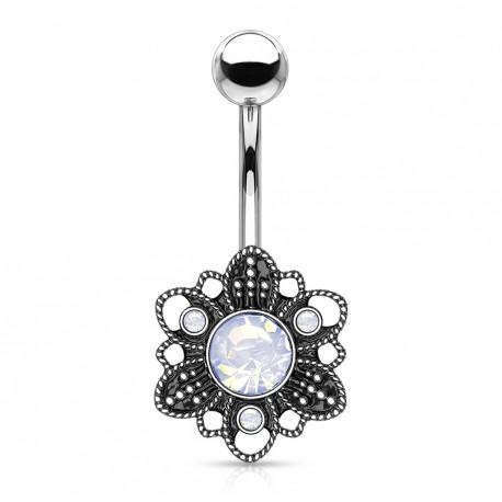 Piercing nombril fleur antique avec une opaline blanche Rixas NOM309