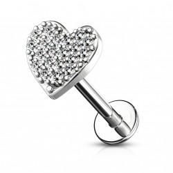 Piercing labret Monroe 8mm avec un cœur pavé de zirconium Kowe