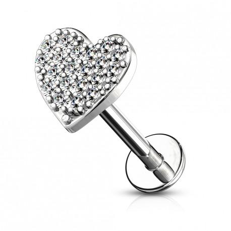 Piercing labret Monroe 8mm avec un cœur pavé de zirconium Kowe LAB169