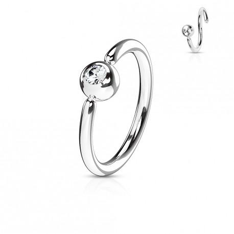 Piercing anneau 6mm acier avec crystal blanc Vasys NEZ163