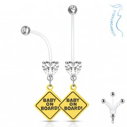 Piercing nombril grossesse baby on board coeur blanc Kol NOM611