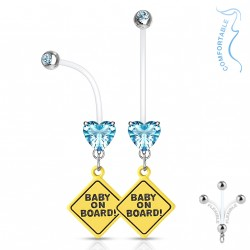 Piercing nombril grossesse baby on board coeur bleu Hady NOM611