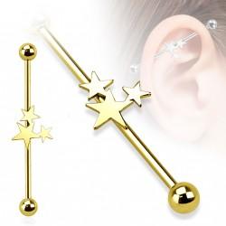 Piercing industriel doré de38mm avec trois étoiles Kasy IND089