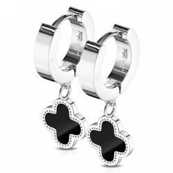 Boucle anneau oreille acier et trèfle noir en pendentif Haso ANN077