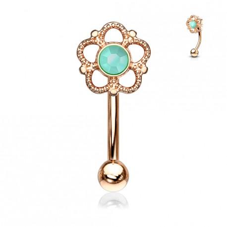 Piercing arcade or rose et une fleur avec une turquoise Flaxy ARC120