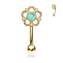 Piercing arcade doré et une fleur avec une turquoise Fukas