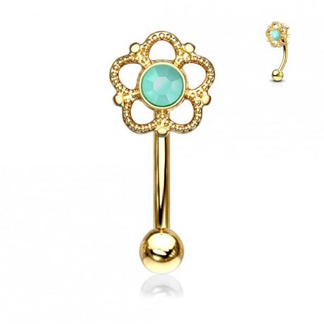 Piercing arcade doré et une fleur avec une turquoise Fukas ARC120