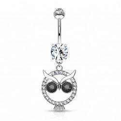 Piercing nombril hibou en crystal et yeux noir Loxy