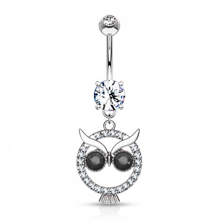 Piercing nombril hibou en crystal et yeux noir Loxy NOM288