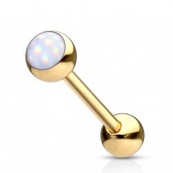 Piercing langue doré boule avec une pierre blanche Gady LAN038