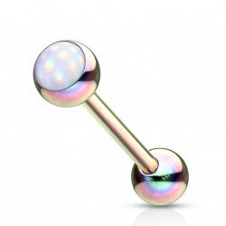 Piercing langue arc en ciel boule avec une pierre blanche Hay Piercing langue5,20€