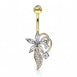 Piercing nombril doré avec une fleur en zirconium Waqy NOM307
